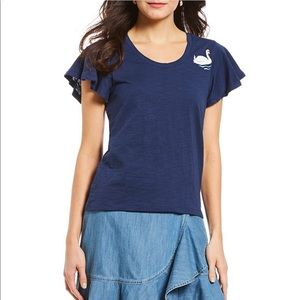 NEW • Draper James • Cloister Swan Tee Navy Small